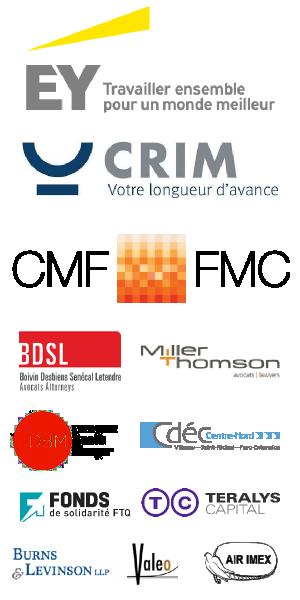 Nos commanditaires : EY, CRIM, Fonds des Médias, CDEC Centre-Nord, BDSL avocats, Teralys Capital, Burns & Levinson LLP,  Fonds de Solidarité FTQ, Deveaux Brault Munger, Valeo, Air Imex